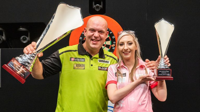 Michael van Gerwen had to overcome a tough challenge from Fallon Sherrock to end his PDC title drought. (Image: Lawrence Lustig/PDC)