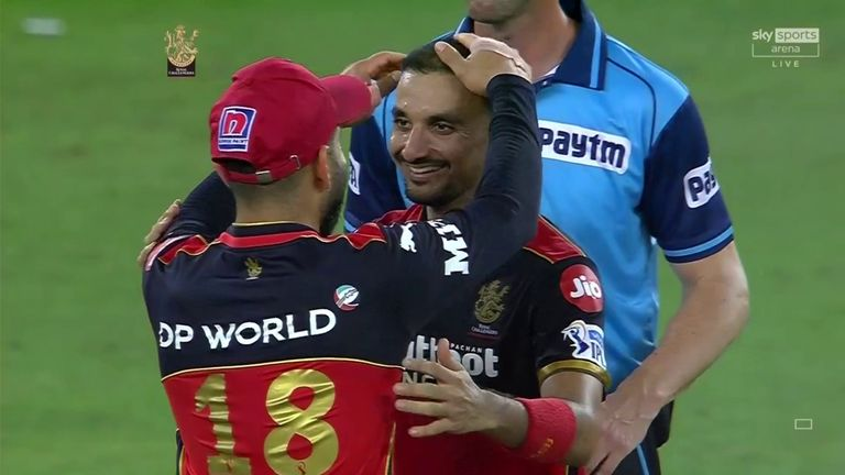 Harshal is congratulated by RCB captain Virat Kohli after his superb showing with the ball