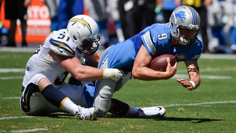 Matthew Stafford was often on the run or on the turf in Detroit