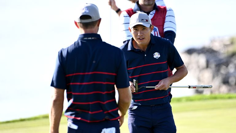 Collin Morikawa, 24, is the youngest player on the USA team, while Dustin Johnson is the oldest at 37