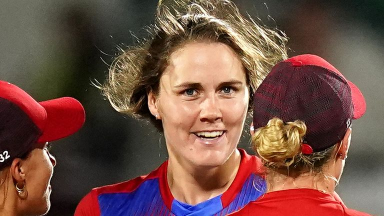 England's Nat Sciver celebrates taking the wicket of New Zealand's Hannah Rowe