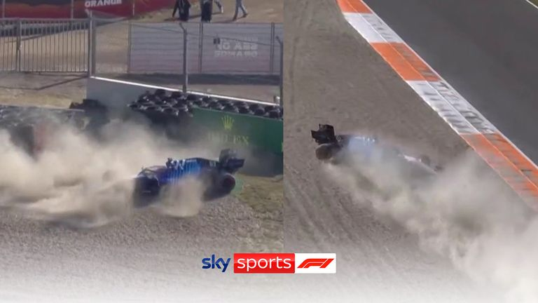 George Russell brings out the red flag after crashing into the barriers in qualifying for the Dutch Grand Prix.