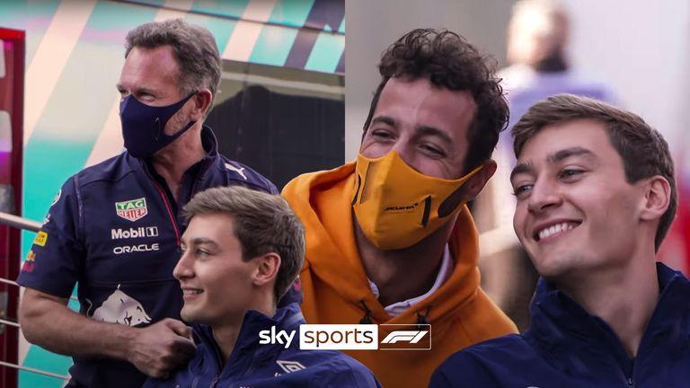 George Russell ging zitten met Jenson Button om te praten over zijn eerste optredens in en uit de Formule 1 na zijn eerste podium in Spa, en kreeg ook gezelschap van enkele onverwachte gasten.