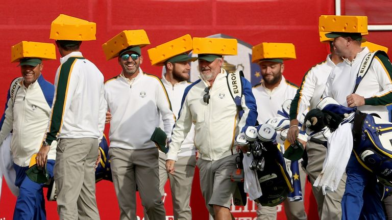 Padraig Harrington explains why his team chose to pay tribute to the Green Bay Packers and their 'cheesehead' fans on the first tee at the Ryder Cup