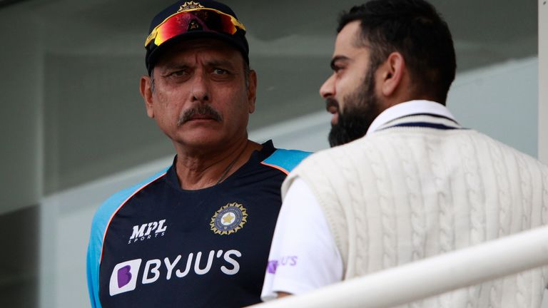 India head coach Ravi Shastri (left) tested positive for Covid-19 during the fourth Test at The Oval