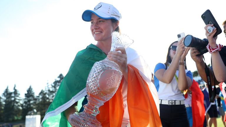Maguire celebrates with the Solheim Cup