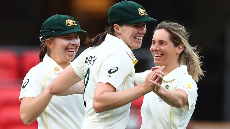 Australia celebrate the wicket of Shafali Verma, who was dropped three times