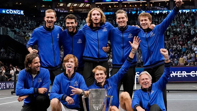 Team Europe celebrate winning a fourth consecutive Laver Cup