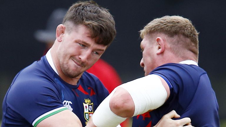 Tom Curry (left) and Tadhg Furlong train during the Lions tour this summer