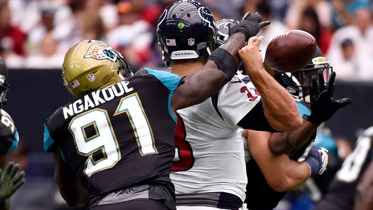Ngakoue forces a fumble from then-Houston Texans quarterback Tom Savage in 2017
