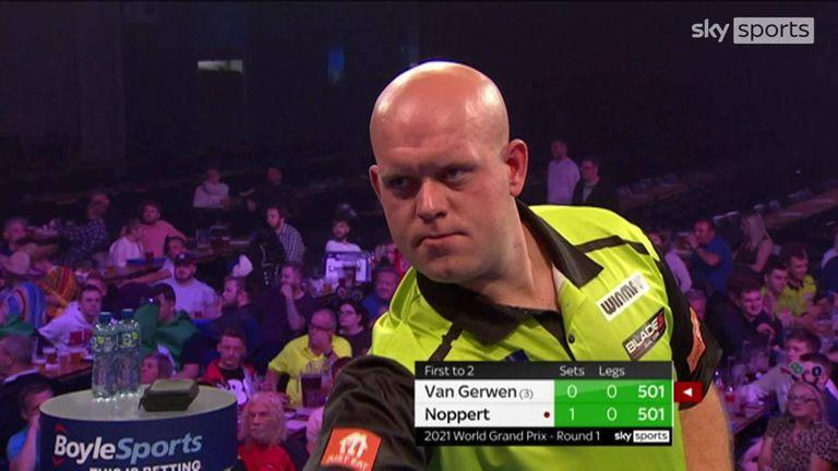 Van Gerwen came millimetres away from an historic nine-dart finish