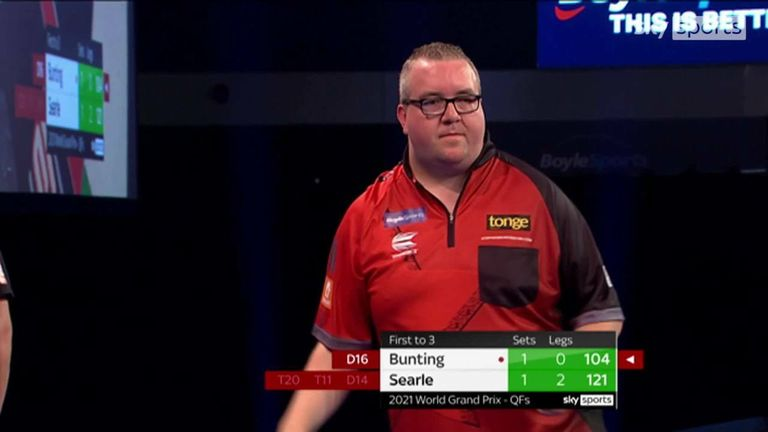 Stephen Bunting hit a crucial 104 checkout to stay in the game against Ryan Searle.