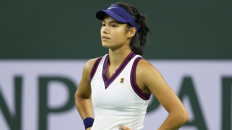 Emma Raducanu was denied a dream meeting with her idol Simona Halep after suffering a straight sets defeat against Aliaksandra Sasnovich in Indian Wells on Friday