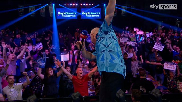 Ian White celebrated beating Darius Labanauskas with a Diamond Dab!
