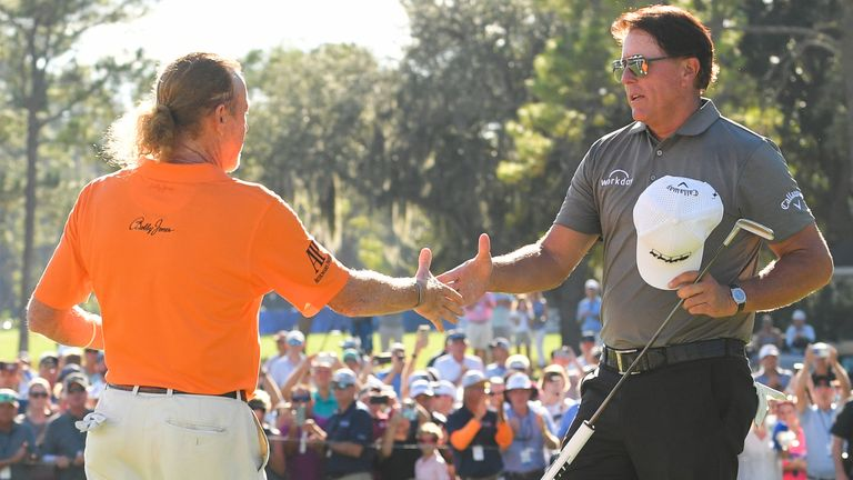 Mickelson (right) played alongside Miguel Angel Jimenez on the final day