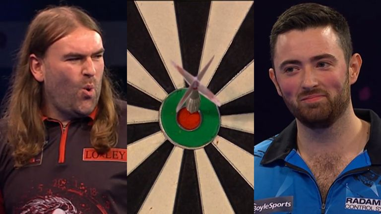 After Luke Humphries hit back-to-back bullseyes in a 132 checkout bid, but missed D16, Ryan Searle steps up and takes out the big fish!