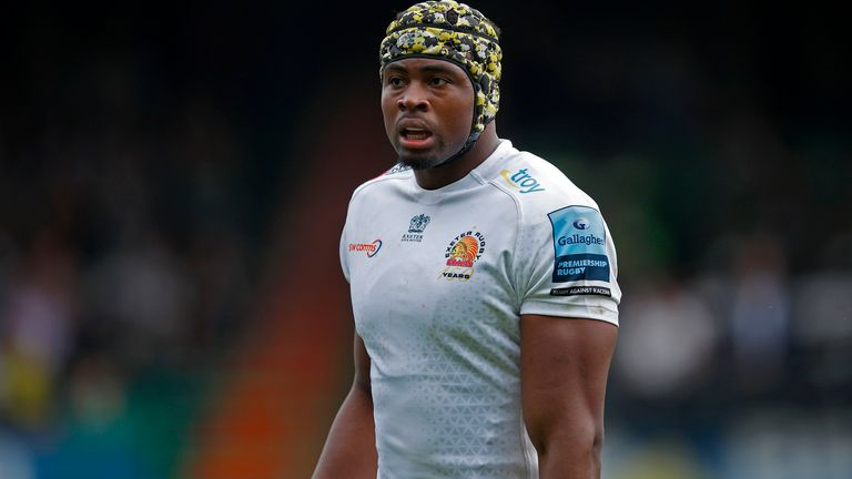 Tshiunza, pictured in action for Exeter Chiefs in the Gallagher Premiership this season, can play at back-row or second row